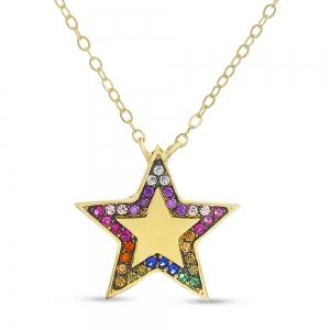 Conjunto estrella amarilla con piedras multicolor