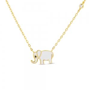 Conjunto amarillo con elefante esmalte blanco