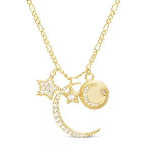Conjunto Luna, estrellas, medalla con lunita, piedras blancas. amarillo