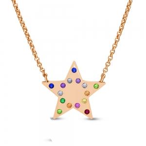 Conjunto estrella rose con piedras multicolor