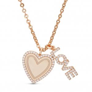 Conjunto corazon virola de piedras, love, rosado