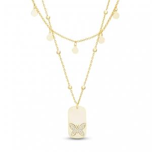 Conjunto doble cadena, medalla mariposa, medallitas redondas, amarillo