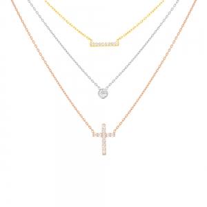 Conjunto triple, tricolor, barrita, susanito, cruz, piedras blancas