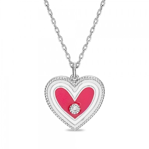 Conjunto corazon, esmalte blanco y rosado, piedras blancas