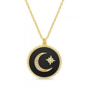 Conjunto medallita esmalte negro, luna y estrella, amarilla