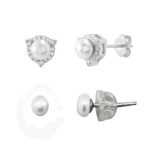 Doble par aros perla, con virola de piedras, y perlita con cierre silicona