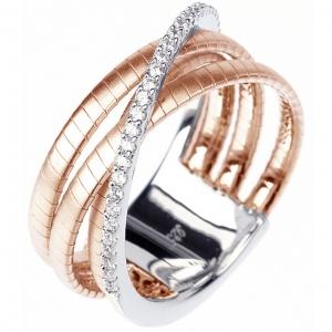 Anillo linea Premium con tres tiras hilo retorcido rosadas y una de piedras blanca