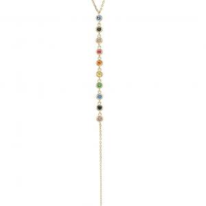 Conjunto linea Premium corbatero, piedras multicolor, amarillo