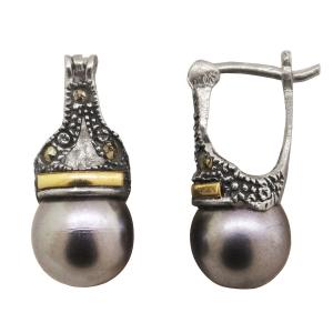 Par aros lady perla gris 10 mm