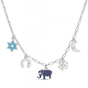 Conjunto 5 dijes con esmalte,Estrella, herradura, elefante, luna, trébol