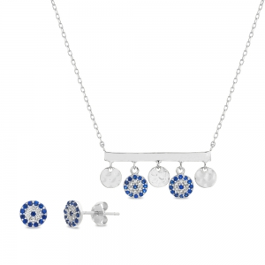 Conjunto barrita con ojitos y medallitas colgantes., y par aros, con piedras azules y blancas
