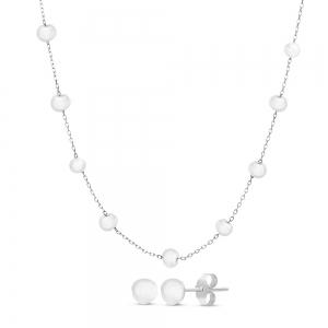 Conjunto y par aros de perla