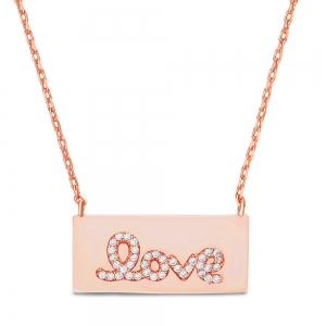 Conjunto rectangular love rosado y piedras blancas