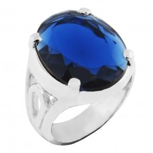 Anillo oval 20 x 15, piedra azul, platabella