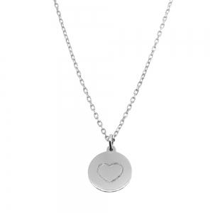 Conjunto medallita corazon blanco (cadena x45 cm )