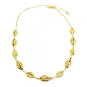 Chocker caracoles, amarillo, piedras multicolor