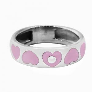 Anillo cinta corazones hundidos, esmaltado rosa, platabella