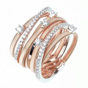 Anillo linea premium, rosado, 5 tiras hilo retorcido, grifas, piedras, y dos tiras medio