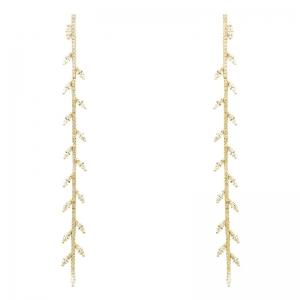 Par aros linea premium, amarillos, largos, hojas piedras ovaladas, con movimiento. 9 cm