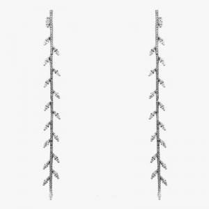 Par aros linea premium, rodio negro, largos, hojas piedras ovaladas, con movimiento. 9 cm