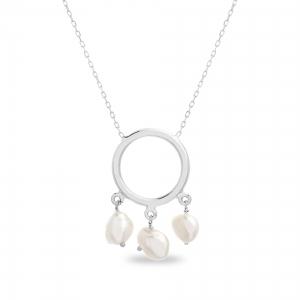 Conjunto arandela con perlas colgantes