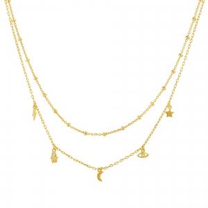 Conjunto doble amarillo, cadena con bolitas y cadena con dijes rayo, luna, estrella y ojito y manito con piedras