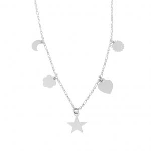 Conjunto luna, flor, estrella, corazon, sol, sin piedras. con extencion de 5 cm