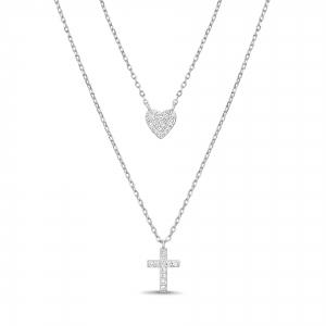 Conjunto doble, cruz y corazon pavee