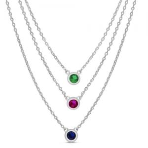 Conjunto triple con piedra azul, verde y rosada