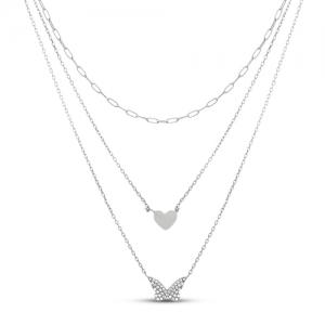 Conjunto triple mariposa, corazon, cadena, piedras blancas