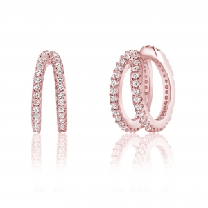 Par aros linea premium , argollas doble , rosados, ajustables