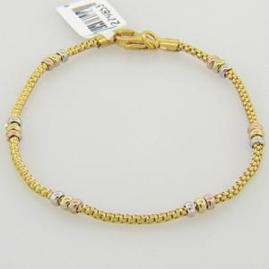 pulsera hilo amarillo con donas tricolor
