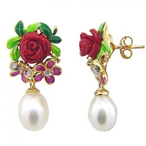 Par aros amarillos, colgantes, perla, esmalte,  con rosa, mariposa, flor