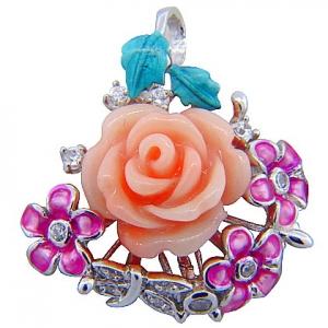 dije rosa tres flores esmalte