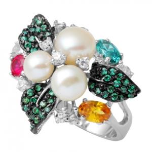 hojas piedras colores tres perlas anillo