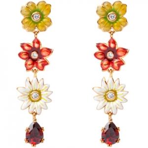 Par aros colgantes, tres flores, piedra roja, esmalte, amarillos