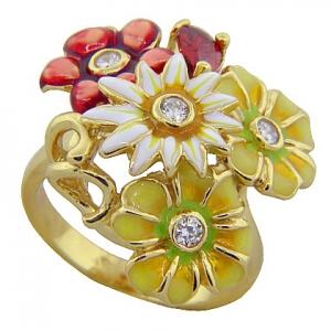 anillo cuatro flores amarillo