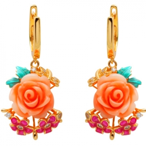 Par aros colgantes, Rosa, dos flores, mariposa, esmalte, amarillos