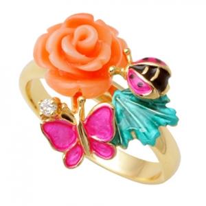 anillo rosa mariposa esmalte amarillo