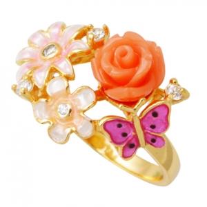 anillo rosa dos flores mariposa esmalte, amarillo