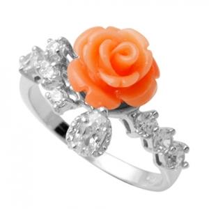 anillo rosa tira de piedras