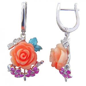 par aros colgantes Rosa dos flores esmalte blancos