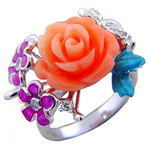 anillo rosa dos flores esmalte