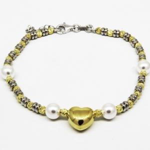 pulsera bolitas, perlas , corazon al centro, amarilla y blanca