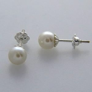 Par aros perla falsa con rosca 6mm