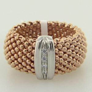anillo fope ancho enchapado rosado con centro tira pave rodio blanco