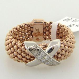 anillo fope fino enchapado rosado con centro cruz pave rodio blanco