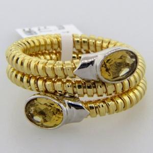 anillo resorte triple mediano cubic cada punta champang enchapado amarillo