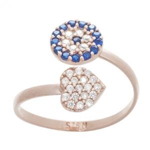 anillo corazon ojito cubic blancos y azules rosado