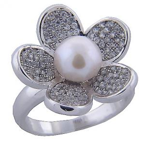 anillo flor pave perla fino